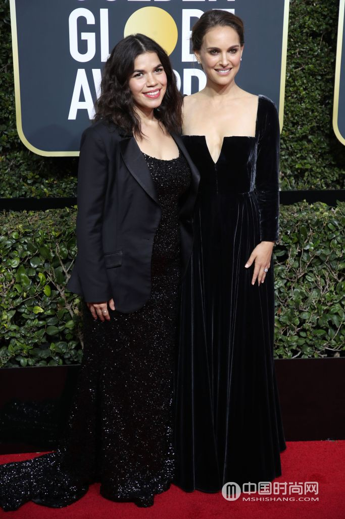 America Ferrera in custom Christian Siriano and Natalie Portman.jpg