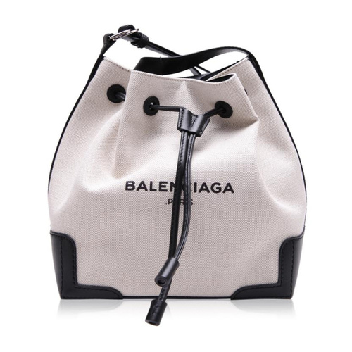 Balenciaga/巴黎世家 女士米白色帆布配皮单肩斜挎水桶包Backpacks 409000 AQ37N 1080