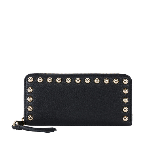 Rebecca Minkoff/瑞贝卡·明可弗 牛皮 Ava Zip Wallet with Studs 长款钱包2015度假款